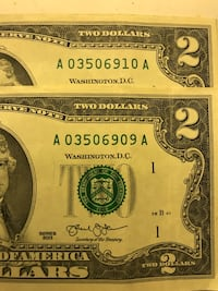 Two Consecutive $2 Bills Vancouver, 98685