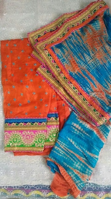 orange and blue dupatta