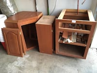 Brown wooden cabinet and parts