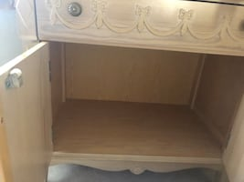 Twin brass bed and vanity
