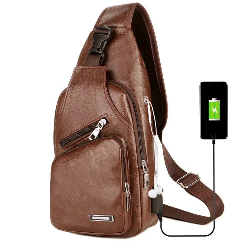 Bag men  cross body with USB charging