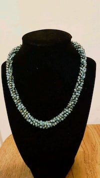 silver and blue beaded necklace Etobicoke, M9R