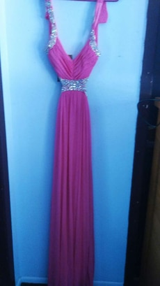 pink beaded belt v-neck dress