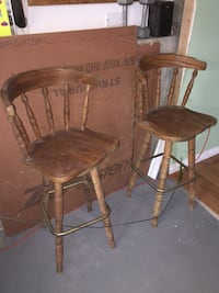 two brown wooden bar stools Plymouth, 02360