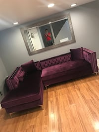 framed purple padded sectional and mirror for sale Baltimore, 21212