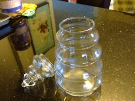 Vintage Anchor Hocking Crystal Christmas Tree Jar With Cover,2169