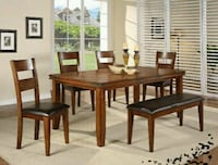 Figaro Rustic Medium Brown Dining Set   1201 mi