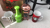 French press, vegetable chopper, 2 mugs for (everything for $30) almost never used  Burnaby, V5H 0C2