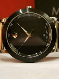 round black and gold analog watch with brown leather strap Santa Ana, 92707
