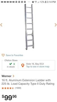 Two 16' aluminum extension ladders  Fordland, 65652