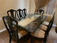 rectangular brown wooden table with chairs dining set Markham, L6B 0L7