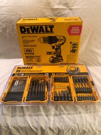 Brand new in the packages DeWalt 20V compact drill driver tool kit, with a 68 pc drill/drive bit set.  Vacaville, 95687