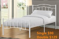 Brand new white metal platform bed frame in single and double 多伦多, M1V 1E9