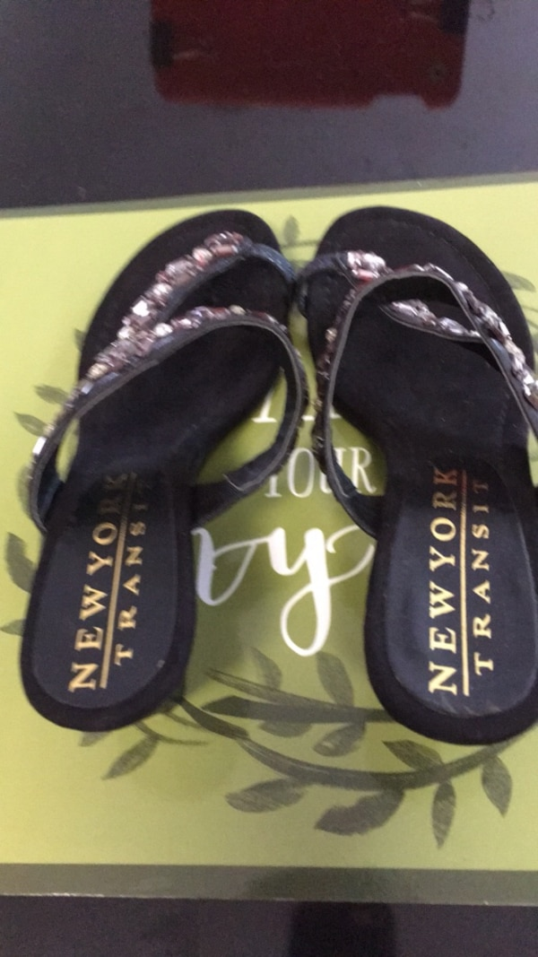 Gently used New York transit size 7 1/2 black jeweled sandals e63a2ce5-34b8-469f-906c-6090320873c4