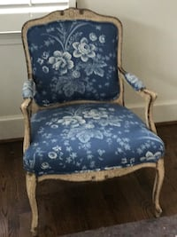 blue and white floral padded armchair Potomac, 20854