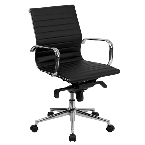 Black Ribbed Leather Swivel Office Chair Chrome Base