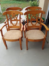 4 pottery barn dining arm chairs rush seats mint