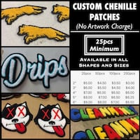 Custom Chenille / letterman patches Manalapan