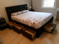 queen bed frame with 7 large drawers underneath Toronto, M6M 1M2