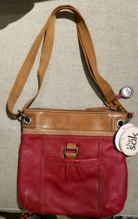 Cherry red and brown leather crossbody bag North Augusta, 29841