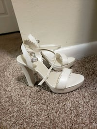 Size 7 Bridal shoes platform chunky heel white Silver Spring, 20904
