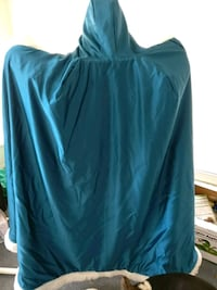 Teal faux plus size hooded cloak