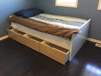 Twin bed frame with three drawers Whitby, L1M