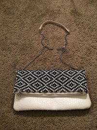 White and black leather Crossbody Columbus, 43205