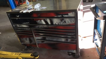 Black and red tool cabinet snap on