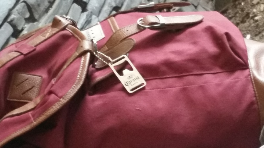 women's brown and maroon leather knapsack bag - Calgary