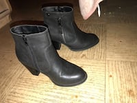 Pair of black leather side-zip booties Laval, H7P 3R1