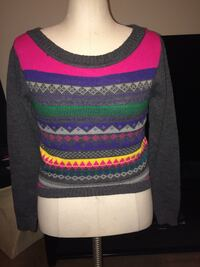 pink, gray, and multicolored sweater