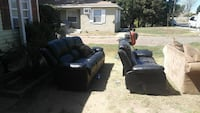 black leather 3 and 2-seat recliners Modesto, 95354