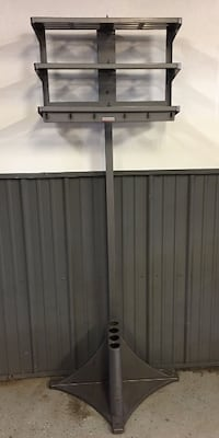 1960's Vogel Office Valet Metal Industrial Coat Rack With Shelves Anderson