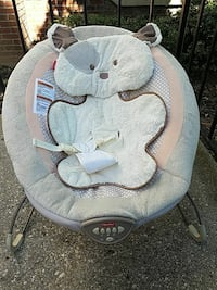 baby's gray printed Fisher-Price bouncer Burke, 22015