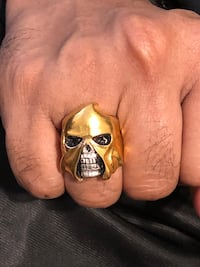 Skull ring 24k gold plated over real sterling silver punisher executioner undertaker death sentence sz 9