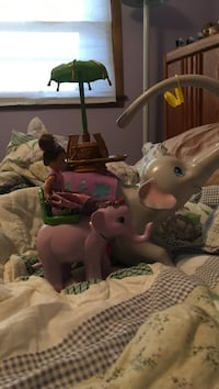 Gray and pink elephant plastic toys