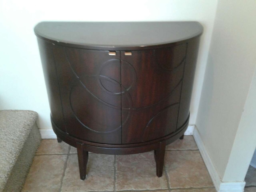 Brown Wooden Semicircle Cabinet