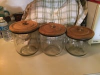 3 Glass Canisters/ Wooden Lids Edmonton, T5Y