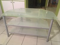 White & gray glass tv table Laval, H7E 2Z3