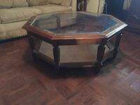 Octagonal brown wooden coffee table