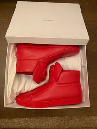 Red versace leather high-top shoes with box 5764 km