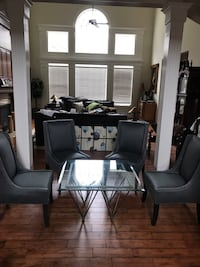 Square glass table with metal base Chantilly, 20152
