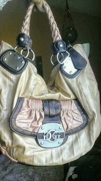 beige and brown Guess leather tote bag