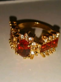 Gold plated red ruby ring