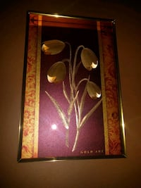 Gold foil flowers, new with the box, framed