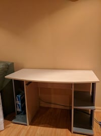 white and gray wooden pedestal desk