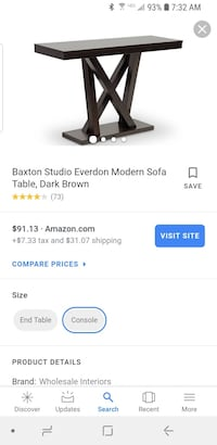 Baxton Studio Everdon Brand New Sofa Table Manassas, 20112