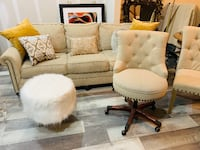 Beautiful Tufted Couch, Desk Chair and 2 Dining Chairs - ATLANTA