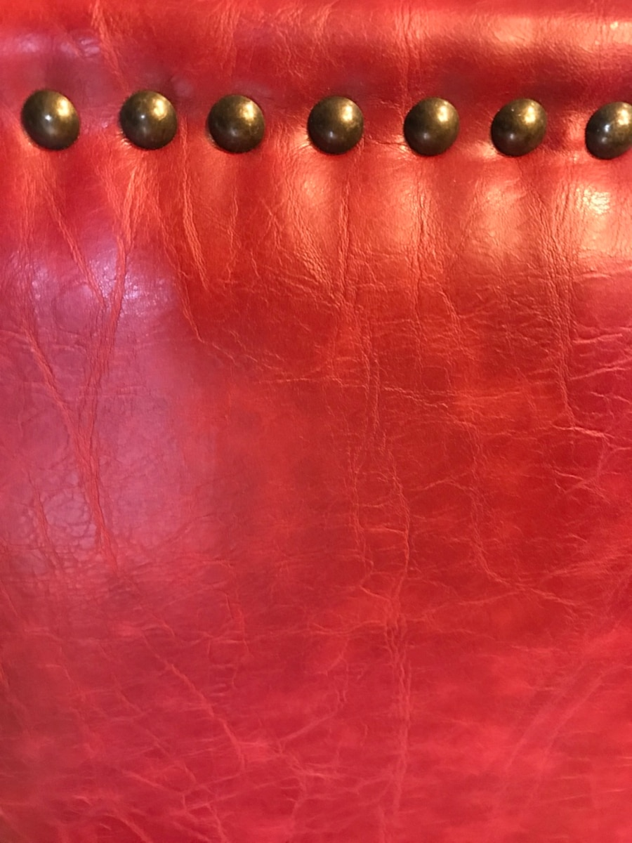 Used Red Leather Counter Stool In Mason